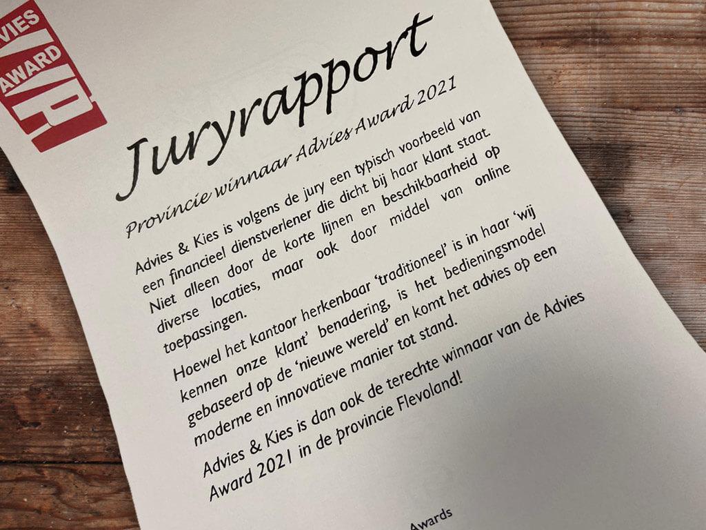 juryrapport Advies en Kies